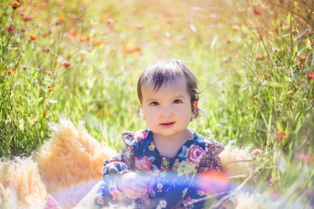colorful image of one year old baby girl in flower field by jessica michelle photo