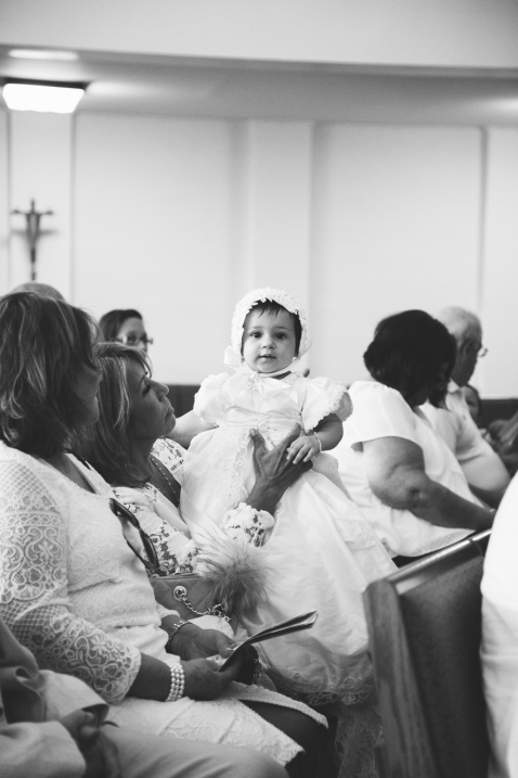 black and white photo of baby girl during christining by jessica michelle photo