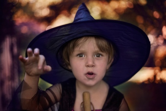 moody image of little girl in spooky witch costume by jessica michelle photo