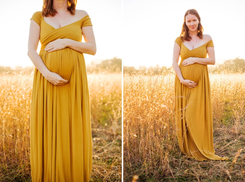 A golden hour sunset maternity self portrait in golden dress jessica michelle photo long island maternity photographer