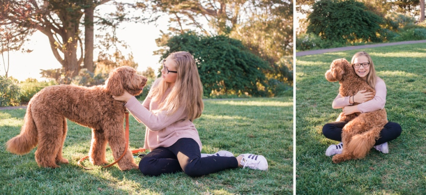portrait of teen girl and her labradoodle puppy at park by jessica michelle photo