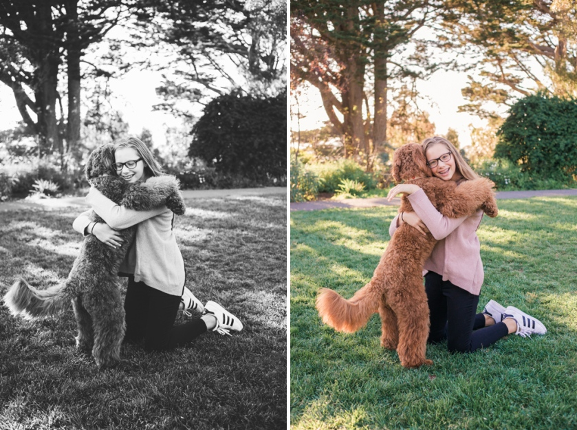 portrait of teen girl hugging her labradoodle puppy at park by jessica michelle photo