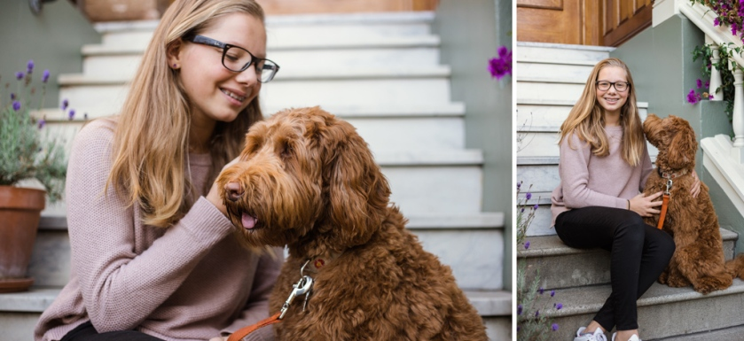 portrait of teen girl and her labradoodle puppy at home by jessica michelle photo